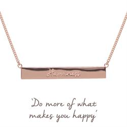 Buy Rose Gold Happiness Mantra Bar Necklace