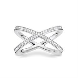 Cross CZ Ring Sterling Silver Size 54