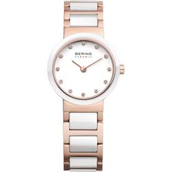 White Ceramic & Rose Gold Watch