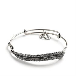 Buy Alex and Ani Plume Feather Wrap in Rafaelian Silver Finish