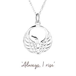Mantra Phoenix Necklace in Silver