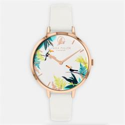 Toucan Watch, Rose Gold and White