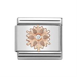 Nomination Christmas Rose Gold CZ Snowflake Charm Link Gifts