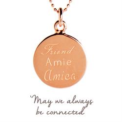 Friend, Amie, Amica Mantra Necklace in Rose Gold