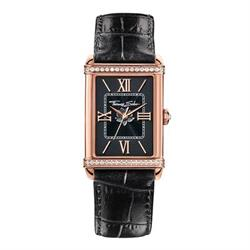 Ladies Black Guilloche Leather Watch
