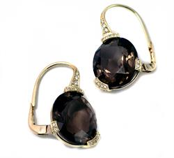 Famosi Smokey Quartz 18ct Gold Diamond Earrings