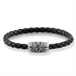 Thomas Sabo Black Leather Unity Bracelet 21cm