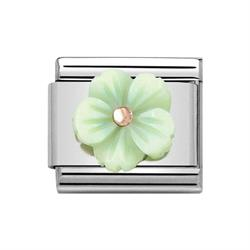 Buy Nomination Classic Rose Gold Symbols Green Mother of Pearl Flower Charm