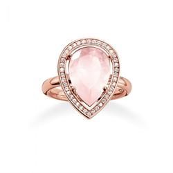 Rose Gold Ring with CZ and Rose Quartz