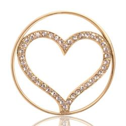 Yellow Gold Sparkling Heart 33mm
