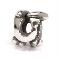 Letter U Silver Charm Bead