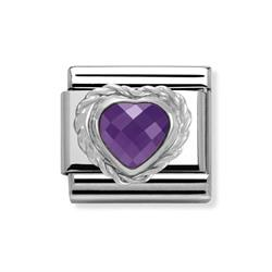 Purple Faceted Heart Charm