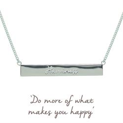 Mantra Jewellery Silver Happiness Mantra Bar Necklace