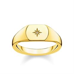 Gold Vintage Star Diamond Signet Ring 54