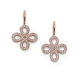 CZ Love Knot Drop Earrings Rose-Gold Plated