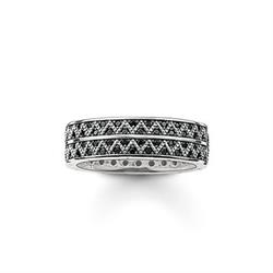 Zig Zag Black and Silver Ring Size 52