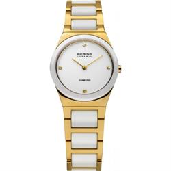 Bering Ladies Gold Ceramic Diamond Watch