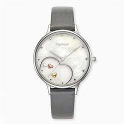 Happy Hearts Watch in Silver with a Grey Leather Strap
