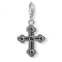 Black CZ Decorated Cross Charm