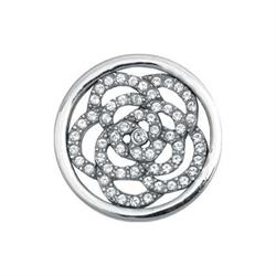 Silver Sparkling Flower Coin 23mm