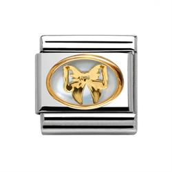 Mother of Pearl Gold Bow  Charm