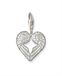 Silver Angel Wing Heart Charm