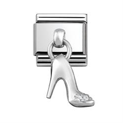 Buy Nomination Silver Hanging Shoe Charm with CZ Embellishment