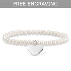 Buy Thomas Sabo Heart Fresh Water Pearl Engravable Bracelet 17.5