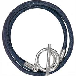 Blue and Silver Leather Wrap Bracelet 19cm