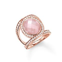 Rose Quartz, Rose Gold Sparkling Cocktail Ring, Size 54