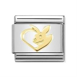 Nomination Rabbit in Heart Charm