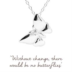 Mantra Butterfly Necklace in Silver