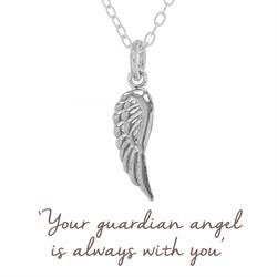 Angel Wing Mantra Necklace in Silver