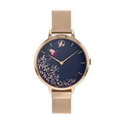 Chelsea Hummingbird Watch, Rose Gold Mesh