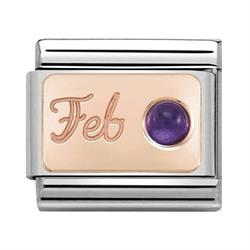 Rose Gold February Amethyst Charm