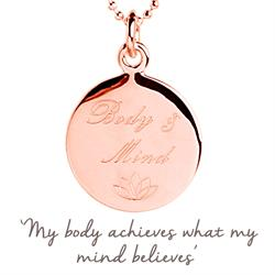 Yoga Body & Mind Mantra Necklace in Rose Gold