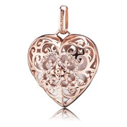 Rose Gold Heart Pendant with White Sound Ball