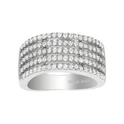Tresor Paris Sale Metric 5 Row Crystal Ring Size L