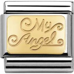 Gold 'My Angel' Plaque Charm