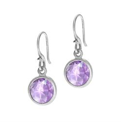Silver Round Amethyst Jewel Drops