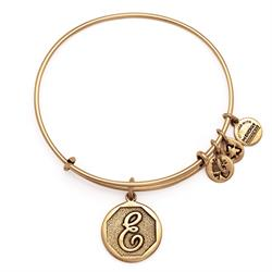 E Initial Bangle in Rafaelian Gold