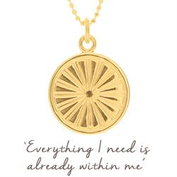 Sun Rays Disc Necklace in Gold