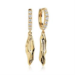 Gold Vulcanello Lungo Drop Earrings with White CZ