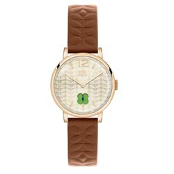 Frankie Leather Watch, Tan and Cream