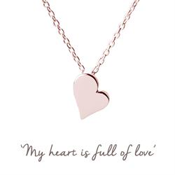 Heart Mantra Necklace in Rose Gold
