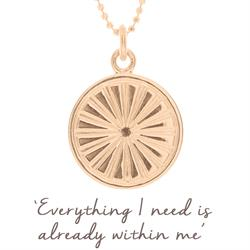 Sun Rays Disc Necklace in Rose Gold