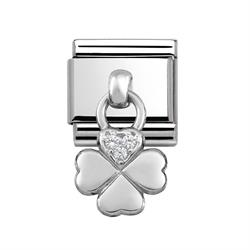 Silver Hanging Four-Leafed Clover Charm with CZ Embellishment