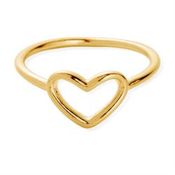 Gold Open Heart Midi Ring (Small)