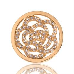 Yellow Gold Sparkling Flower Coin 23mm