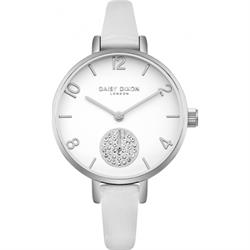 White Alice CZ Leather Watch